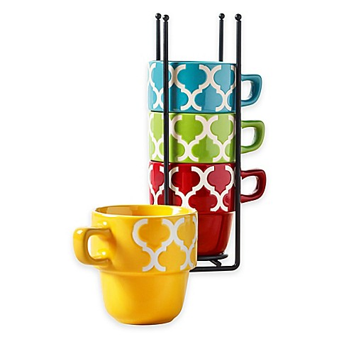 Tabletops Gallery 174 Tile 5 Piece Stacking Mug Set Bed