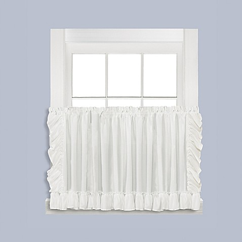 Buy sarah 36 inch window curtain tier pair in white from bed bath beyond for 36 inch bathroom window curtains