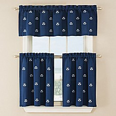 Crossed Anchor Window Curtain Panel And Valance