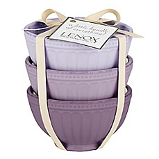 image of Lenox® French Perle™ Groove Mini Everything Bowls in Purple (Set of 3)