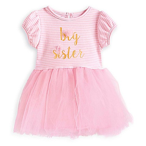 "foto de Mud Pie® ""Big Sister"" Short Sleeve Tutu Dress in Pink/Gold"