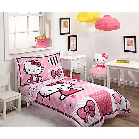 hello kitty 4 piece toddler bedding set buybuy baby