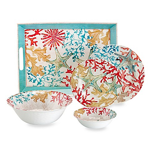 Cayman Melamine Dinnerware  sc 1 st  Bed Bath u0026 Beyond & Outdoor Dining Sets and Tumblers with Lid | Bed Bath u0026 Beyond