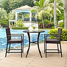 Image Of Crosley Palm Harbor 3 Piece Outdoor Wicker Patio Bistro Set In  Brown