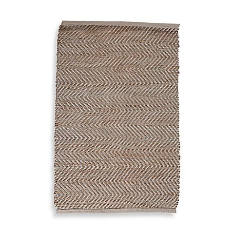 Handwoven Chevron 2 Foot X 3 Foot Accent Rug In White Tan