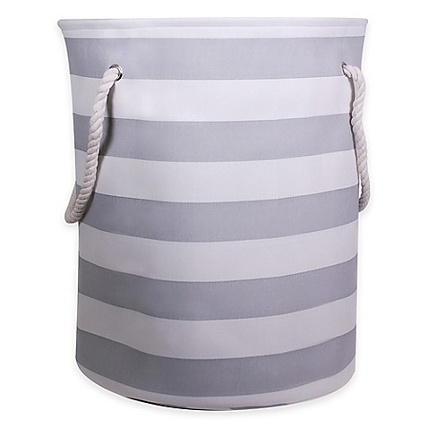 Striped Canvas Hamper With Rope Handles In Grey Buybuy Baby