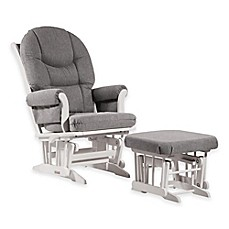 image of Dutailier® Ultramotion Round Back Sleigh Glider and Nursing Ottoman in White/Dark Grey