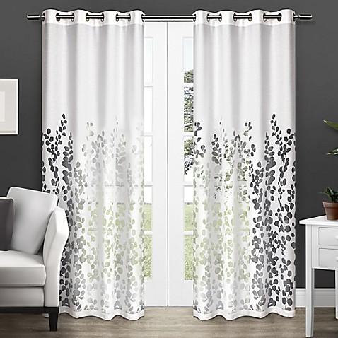 Wilshire 84 Inch Sheer Grommet Top Window Curtain Panel Pair In White Bed Bath Beyond