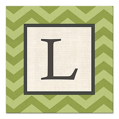 Green chevron letter canvas wall art bed bath beyond for Letter canvas