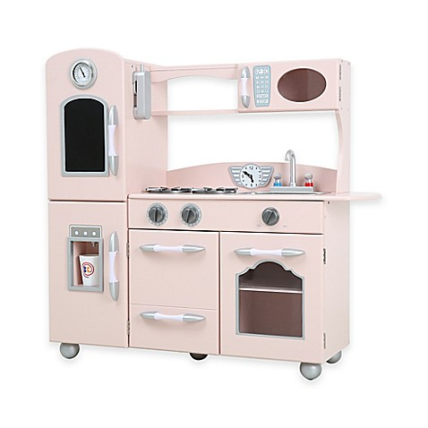 Teamson kids one piece wooden play kitchen set in pink for Kitchen set pink