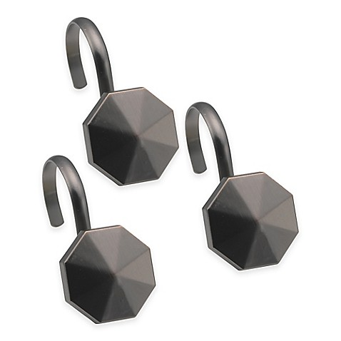 highly styled metal shower curtain hooks in black set of 12 bed bath beyond. Black Bedroom Furniture Sets. Home Design Ideas