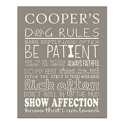 Doggie Rules Canvas Wall Art - Bed Bath & Beyond