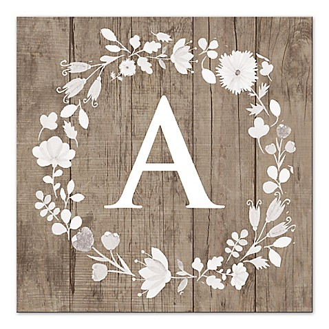 Floral letter canvas wall art bed bath beyond for Letter canvas