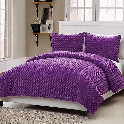 buy vcny rose fur 3 piece full comforter set in purple from bed bath beyond. Black Bedroom Furniture Sets. Home Design Ideas