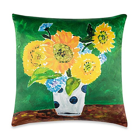 Kate spade new york sunflower vase throw pillow in yellow for Bed bath and beyond kate spade
