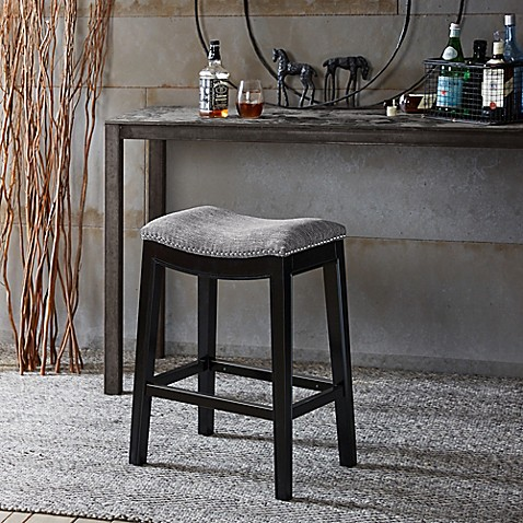 Madison Park Belfast Counter Stool In Grey Black Bed