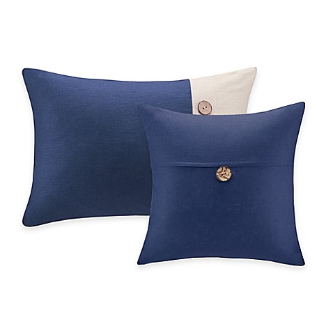 Madison Park Linen Square Throw Pillow with Wooden Button Collection - Bed Bath & Beyond