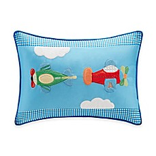 image of Kids Plush Airplane Oblong Pillow in Blue