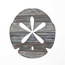 image of Sand Dollar Slatwood Panel Wall Art in Weathered Ivory