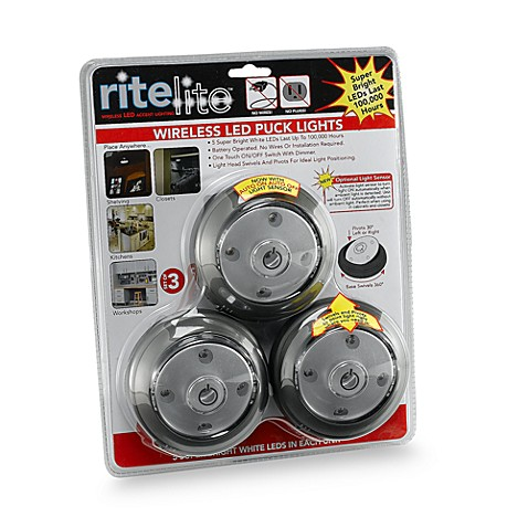 Led puck lights with sensor set of 3 bed bath beyond led puck lights with sensor set of 3 aloadofball Choice Image
