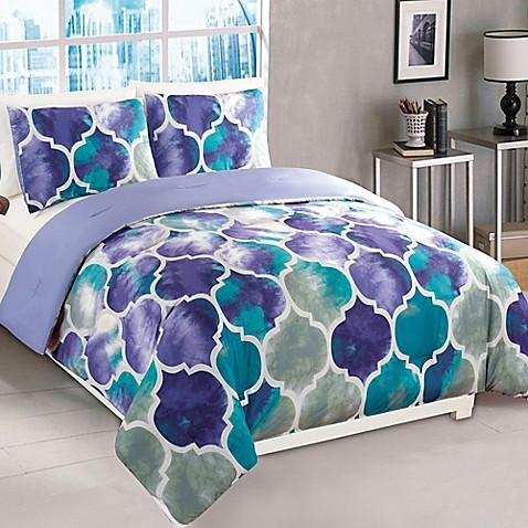 Buy Emmi 2 Piece Twin Comforter Set In Purple Teal From