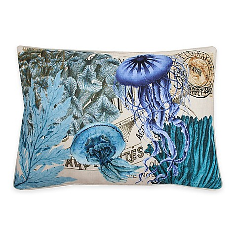 Throw Pillow In French : Thro French Coastal Jellyfish Oblong Throw Pillow in Blue - Bed Bath & Beyond