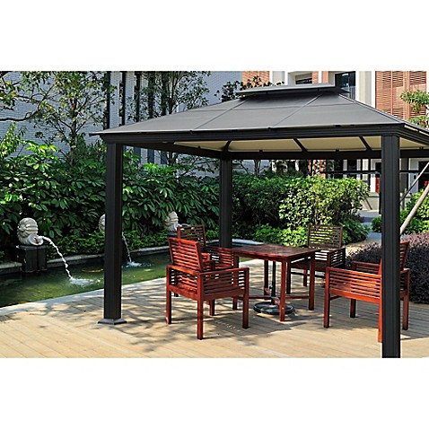 Image Of STC 10 Foot X 13 Foot Santa Monica Gazebo In Black