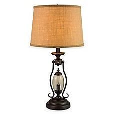 Delicieux Fangio Lighting 2 Light Table Lamp In Black With Burlap Shade