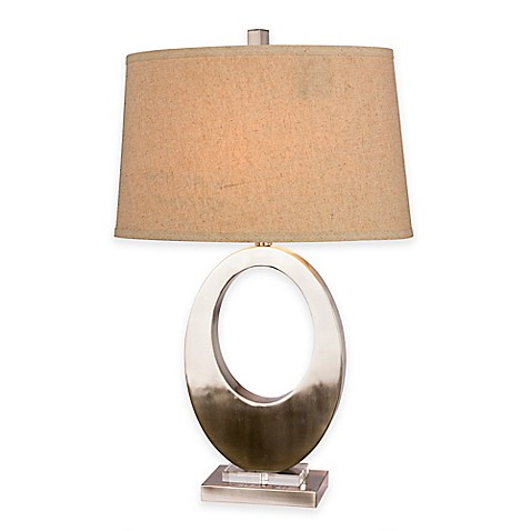 fangio lighting open oval table lamp in brushed steel with linen shade. Black Bedroom Furniture Sets. Home Design Ideas