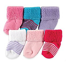 image of BabyVision® Luvable Friends® Size 0-3M 6-Pack Newborn Socks in Purple