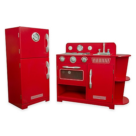 Teamson Kids 2 Piece Classic Wooden Play Kitchen Set In Red Bed Bath Beyond