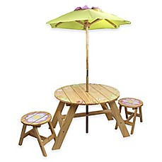 image of Teamson Kids Outdoor Table and Chairs Set with Umbrella in Magic Garden
