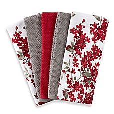 image of cherry blossom 5 pack kitchen towel set in redwhite - Red And Black Print Bath Towels