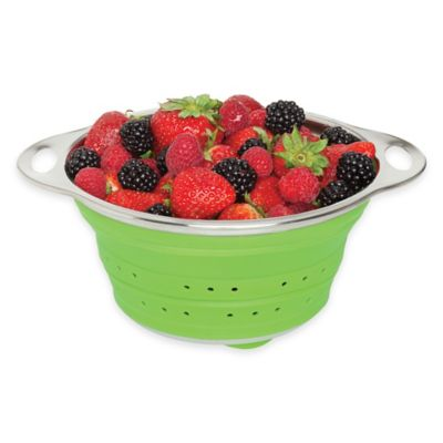 image of Collapsible Silicone and Stainless Steel Colander