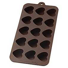 image of Mrs. Anderson's Baking® Nonstick 10-Inch x 4.12-Inch Silicone Heart Chocolate Mold in Brown