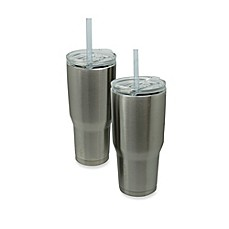 image of Vacuum-Insulated Metal COLD-1 Tumbler with Straw