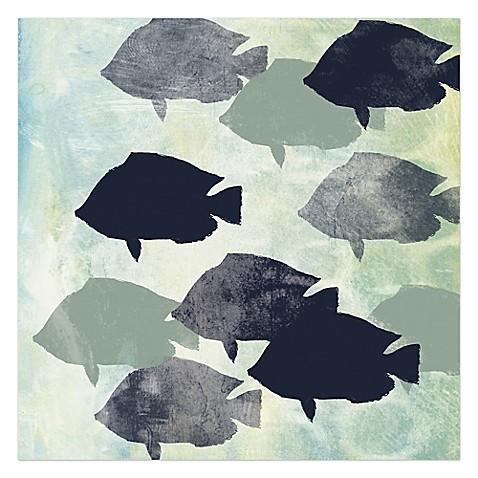 School of fish canvas wall art bed bath beyond for School of fish wall art