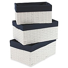 Image Of Redmon 3 Piece Basket Storage Set In White Navy