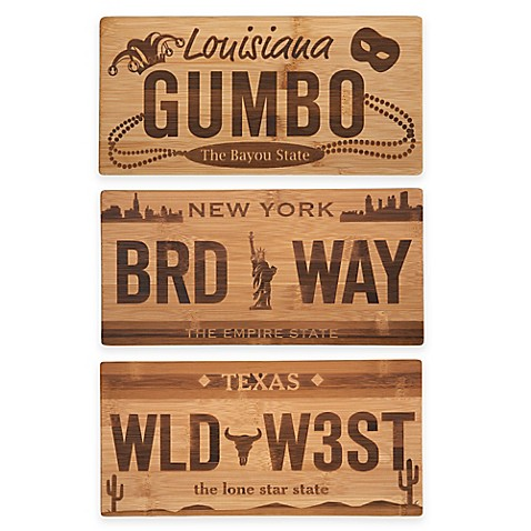 license plate bamboo cutting board