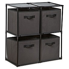 image of 4-Cube Grid System with Fabric Bins in Grey