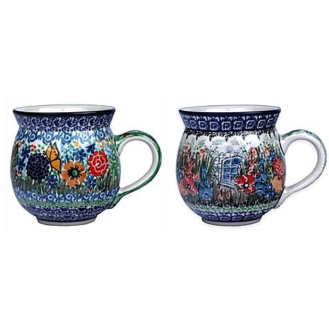 Ceramika Artystyczna Polish Pottery Bubble Lady Mugs In