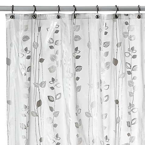 white and silver shower curtain. Ivy Silver Vinyl Shower Curtain  Bed Bath Beyond
