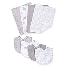 image of Trend Lab® 8-Piece Circles Bib and Burp Cloth Set in Grey/White