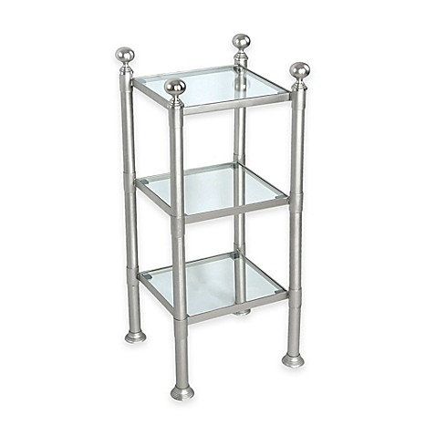 Buy 3 Shelf Small Steel And Glass Storage Unit In Pewter
