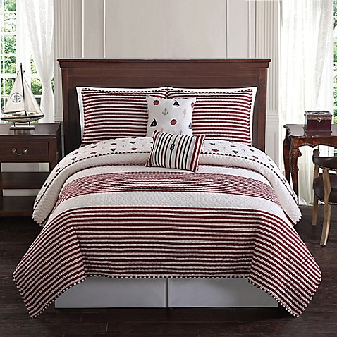 Bayside Reversible Quilt Set In Red Bed Bath Amp Beyond