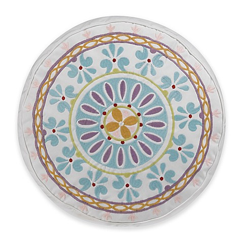 Round White Decorative Pillow : Buy Dena Home Valentina Sundial Round Throw Pillow in Aqua/White from Bed Bath & Beyond