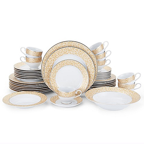 Mikasa parchment gold 42 piece dinnerware set bed bath for Mikasa china