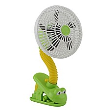 image of O2COOL® 4-Inch Portable Stroller Clip Fan in Green/Yellow Frog