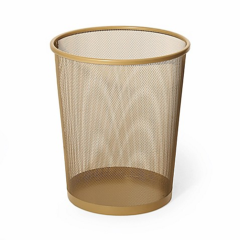 Mesh metal wastebasket in gold bed bath beyond for Gold bathroom wastebasket