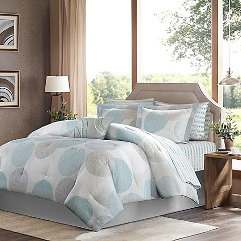 Madison Park Essentials Knowles 9 Piece Comforter Set In Aqua